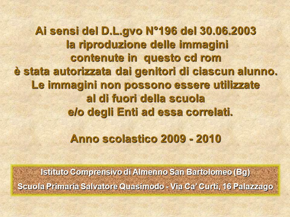 Ai sensi del D.L.gvo N°196 del 30.06.2003 la riproduzione delle immagini la riproduzione delle immagini contenute in questo cd rom è stata autorizzata