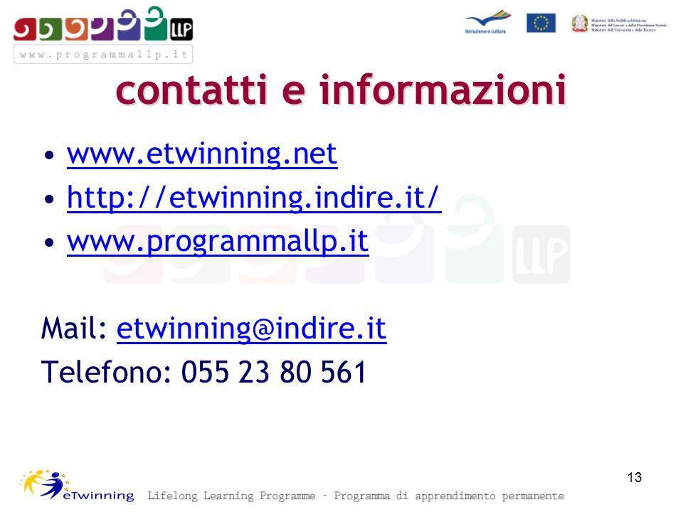 contatti e informazioni www.etwinning.net http://etwinning.indire.it/ www.programmallp.it Mail: etwinning@indire.itetwinning@indire.it Telefono: 055 2