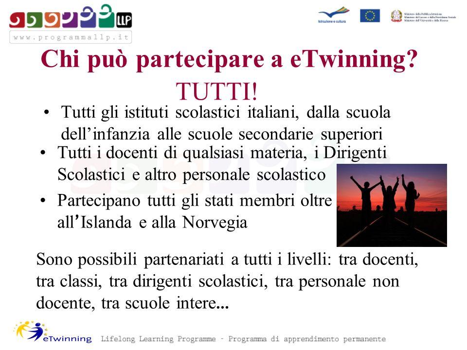 Tutti gli istituti scolastici italiani, dalla scuola dellinfanzia alle scuole secondarie superiori Chi può partecipare a eTwinning.