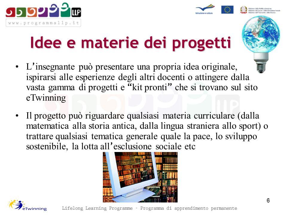Idee e materie dei progetti 6 L insegnante può presentare una propria idea originale, ispirarsi alle esperienze degli altri docenti o attingere dalla