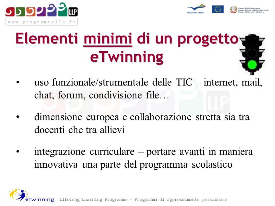 Elementi minimi di un progetto eTwinning uso funzionale/strumentale delle TIC – internet, mail, chat, forum, condivisione file… dimensione europea e c