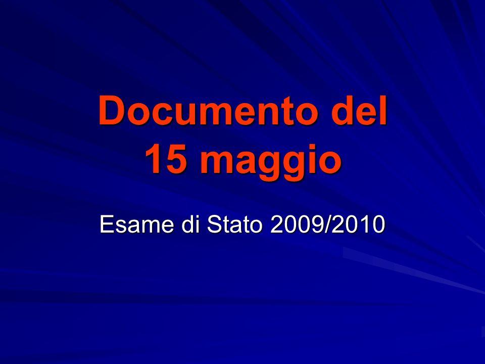 Documento del 15 maggio Esame di Stato 2009/2010