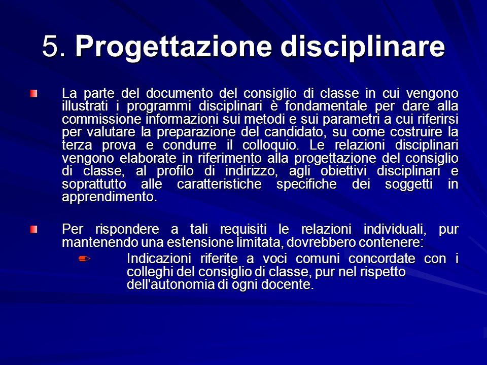 5. Progettazione disciplinare La parte del documento del consiglio di classe in cui vengono illustrati i programmi disciplinari è fondamentale per dar