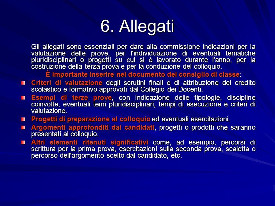 6. Allegati Gli allegati sono essenziali per dare alla commissione indicazioni per la valutazione delle prove, per l'individuazione di eventuali temat