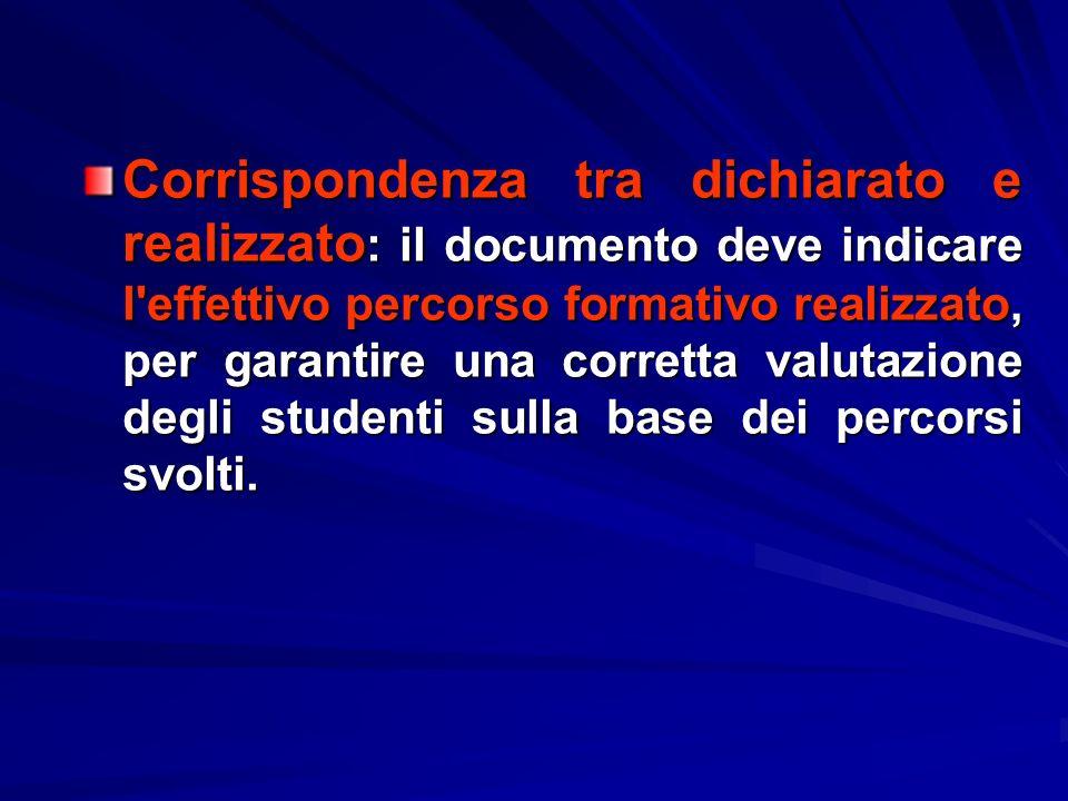 Corrispondenza tra dichiarato e realizzato: il documento deve indicare l'effettivo percorso formativo realizzato, per garantire una corretta valutazio