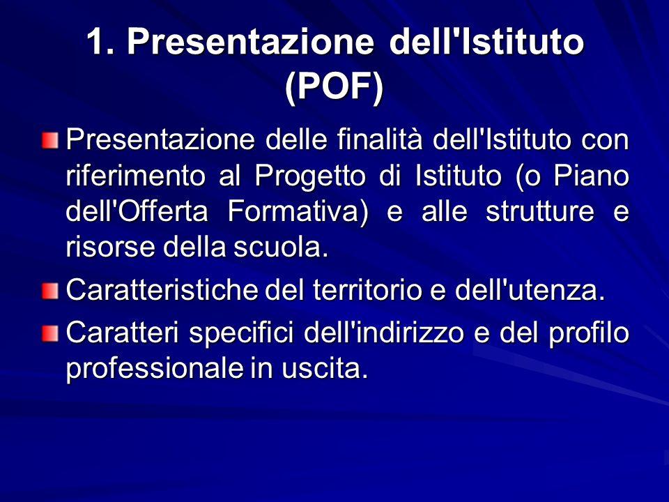 1. Presentazione dell'Istituto (POF) Presentazione delle finalità dell'Istituto con riferimento al Progetto di Istituto (o Piano dell'Offerta Formativ