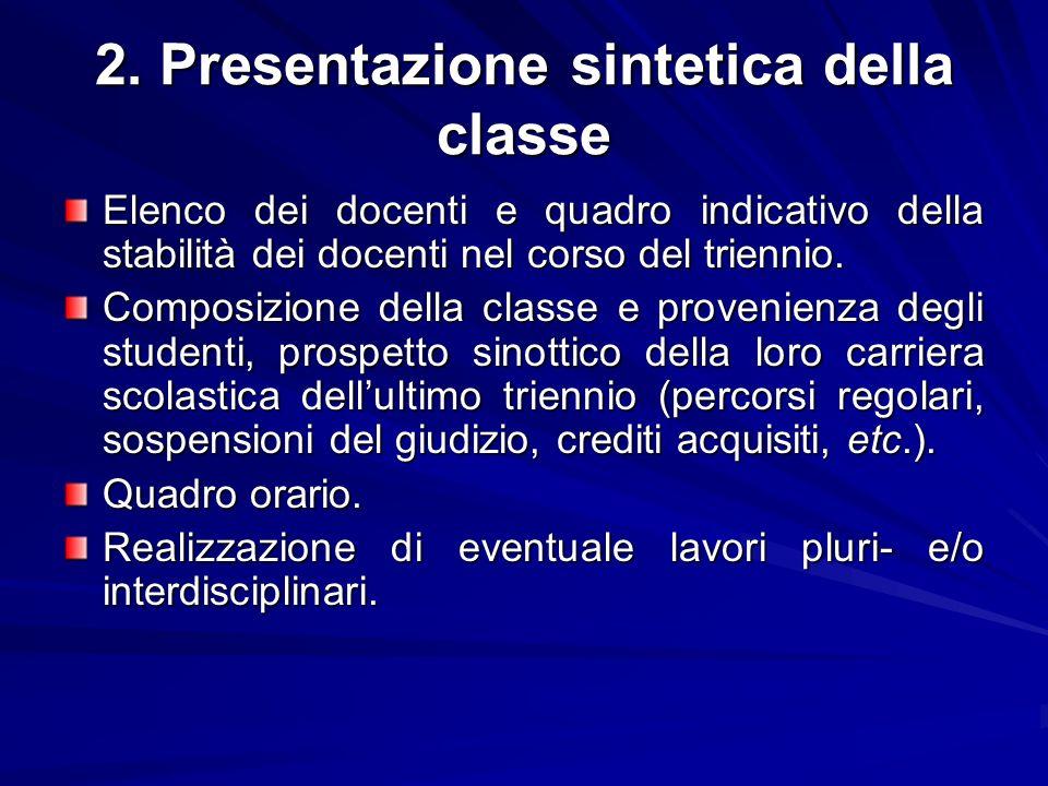 2. Presentazione sintetica della classe Elenco dei docenti e quadro indicativo della stabilità dei docenti nel corso del triennio. Composizione della