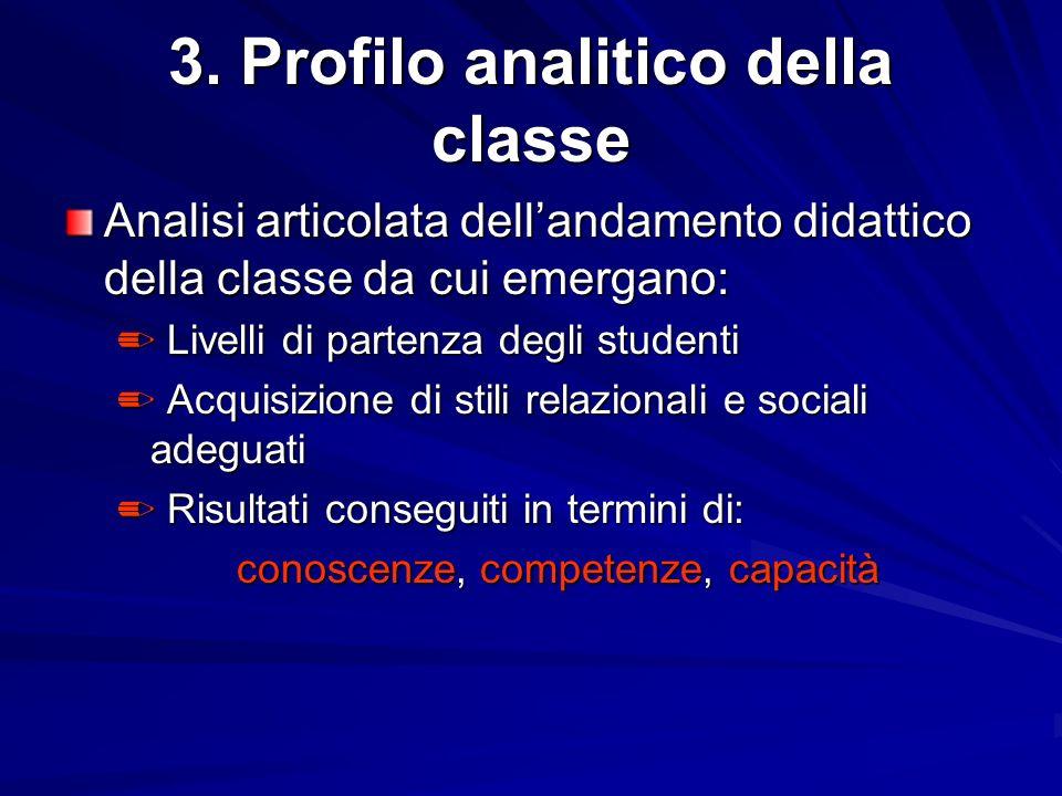 3. Profilo analitico della classe Analisi articolata dellandamento didattico della classe da cui emergano: Livelli di partenza degli studenti Livelli