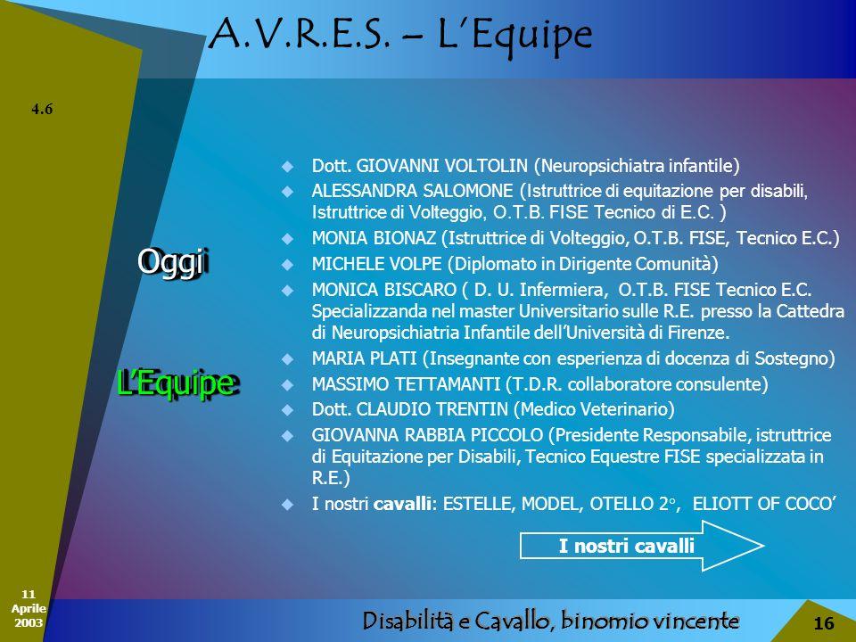 11 Aprile 2003 Disabilità e Cavallo, binomio vincente 16 A.V.R.E.S. – LEquipe OggiOggi Dott. GIOVANNI VOLTOLIN (Neuropsichiatra infantile) ALESSANDRA