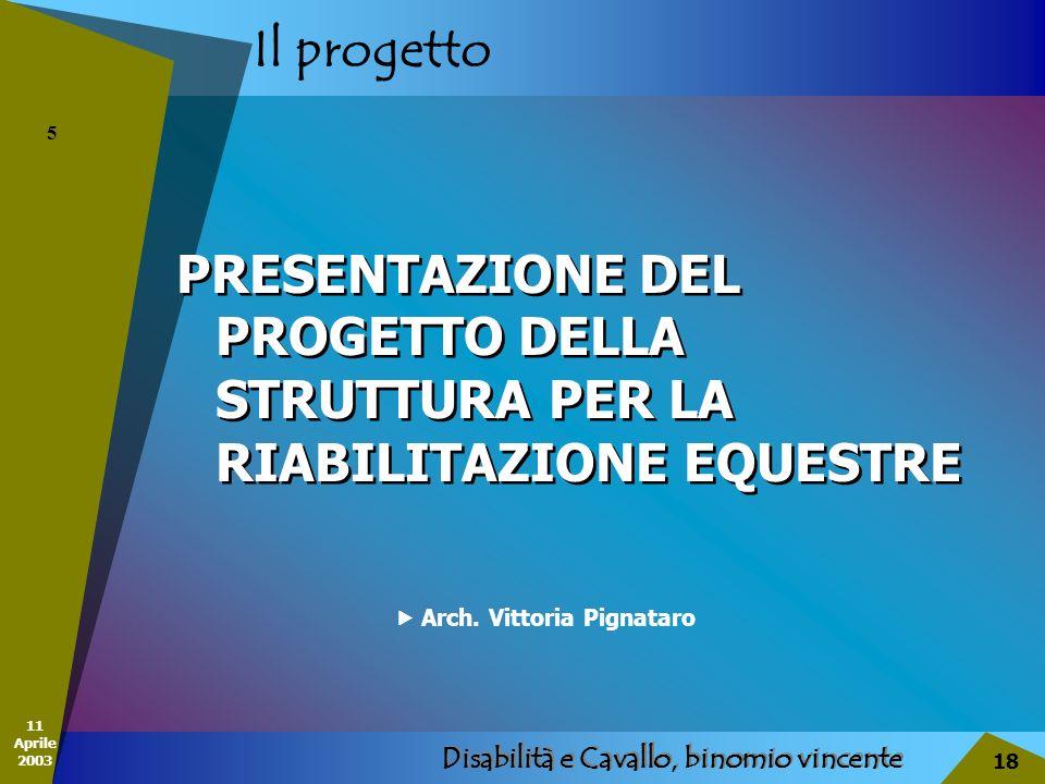 11 Aprile 2003 Disabilità e Cavallo, binomio vincente 18 Il progetto PRESENTAZIONE DEL PROGETTO DELLA STRUTTURA PER LA RIABILITAZIONE EQUESTRE 5 Arch.