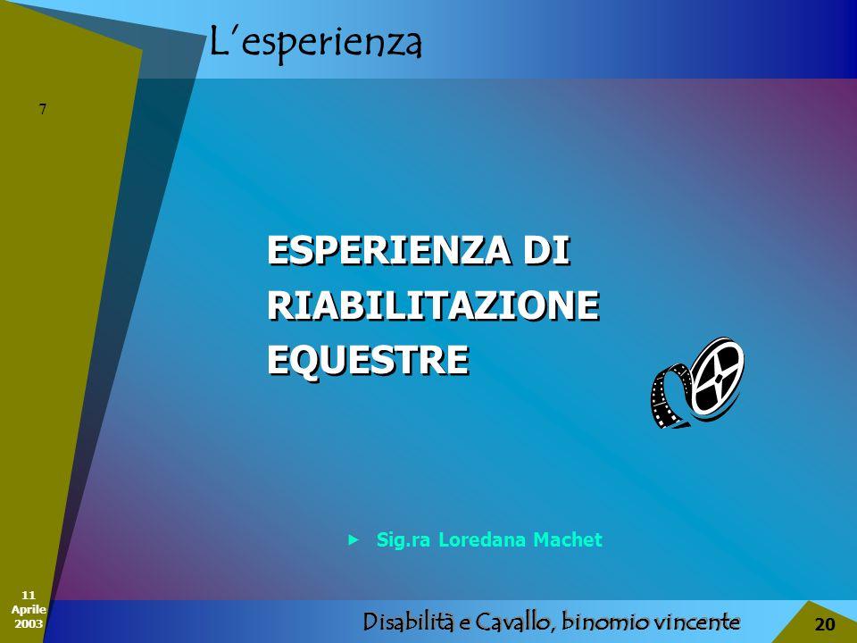 11 Aprile 2003 Disabilità e Cavallo, binomio vincente 20 Lesperienza ESPERIENZA DI RIABILITAZIONE EQUESTRE ESPERIENZA DI RIABILITAZIONE EQUESTRE 7 Sig