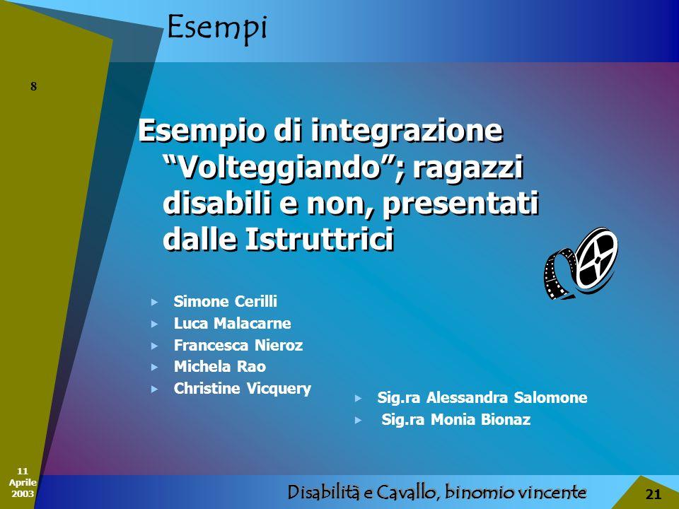 11 Aprile 2003 Disabilità e Cavallo, binomio vincente 21 Esempi Esempio di integrazione Volteggiando; ragazzi disabili e non, presentati dalle Istrutt