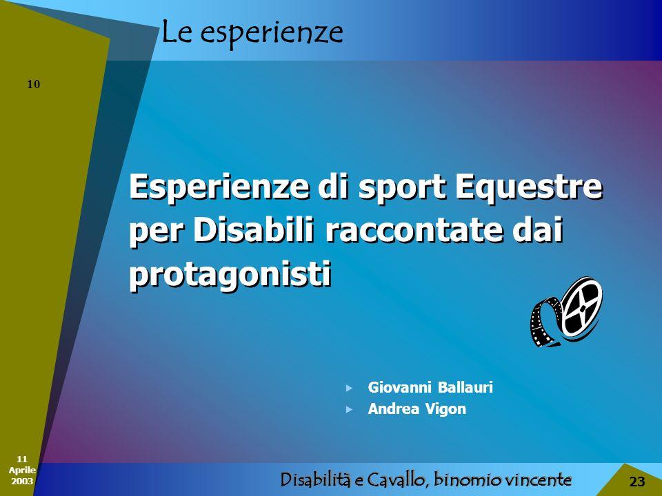 11 Aprile 2003 Disabilità e Cavallo, binomio vincente 23 Le esperienze Esperienze di sport Equestre per Disabili raccontate dai protagonisti Esperienz