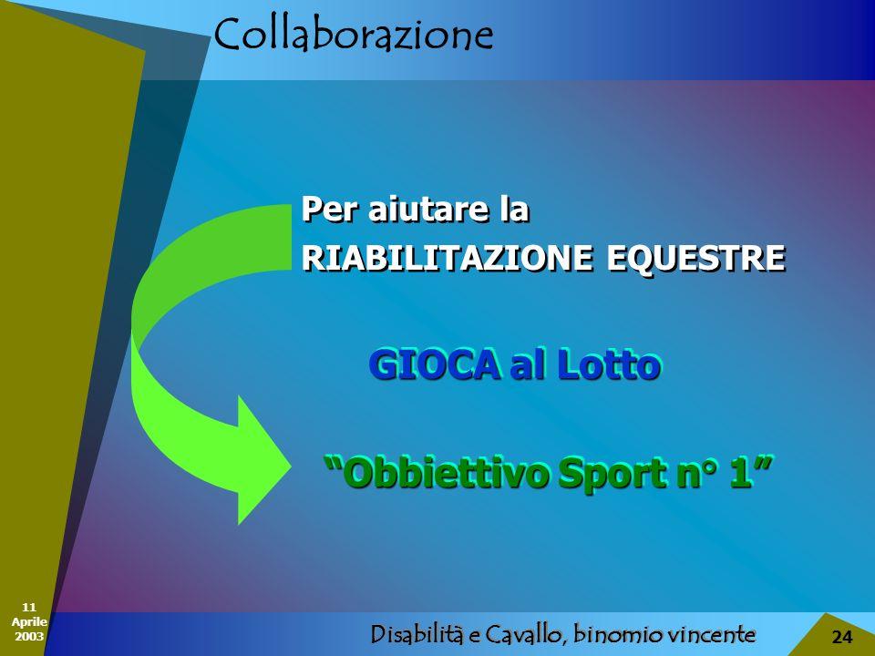 11 Aprile 2003 Disabilità e Cavallo, binomio vincente 24 Collaborazione Per aiutare la RIABILITAZIONE EQUESTRE Per aiutare la RIABILITAZIONE EQUESTRE