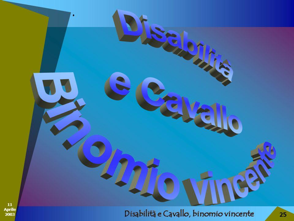 11 Aprile 2003 Disabilità e Cavallo, binomio vincente 25..