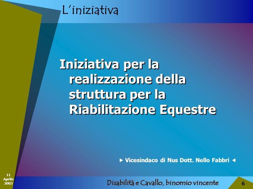 11 Aprile 2003 Disabilità e Cavallo, binomio vincente 6 Liniziativa Iniziativa per la realizzazione della struttura per la Riabilitazione Equestre Vic