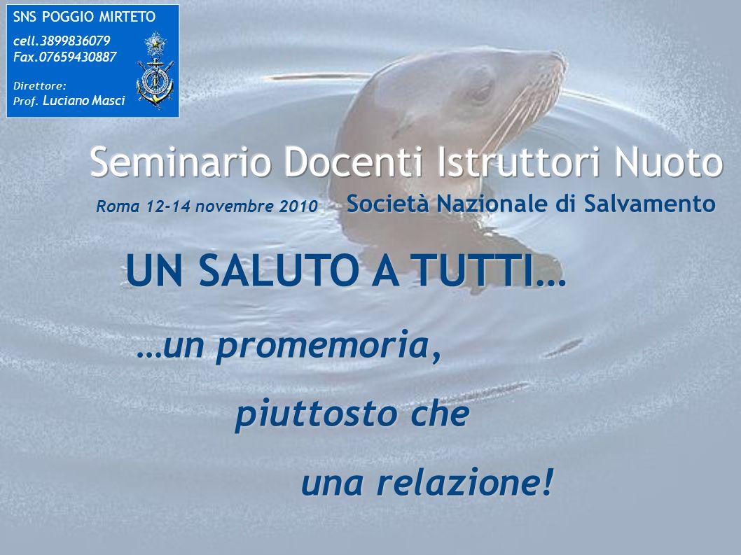 UN SALUTO A TUTTI… SNS POGGIO MIRTETO cell.3899836079 Fax.07659430887 Direttore: Prof. Luciano Masci …un promemoria, piuttosto che una relazione!