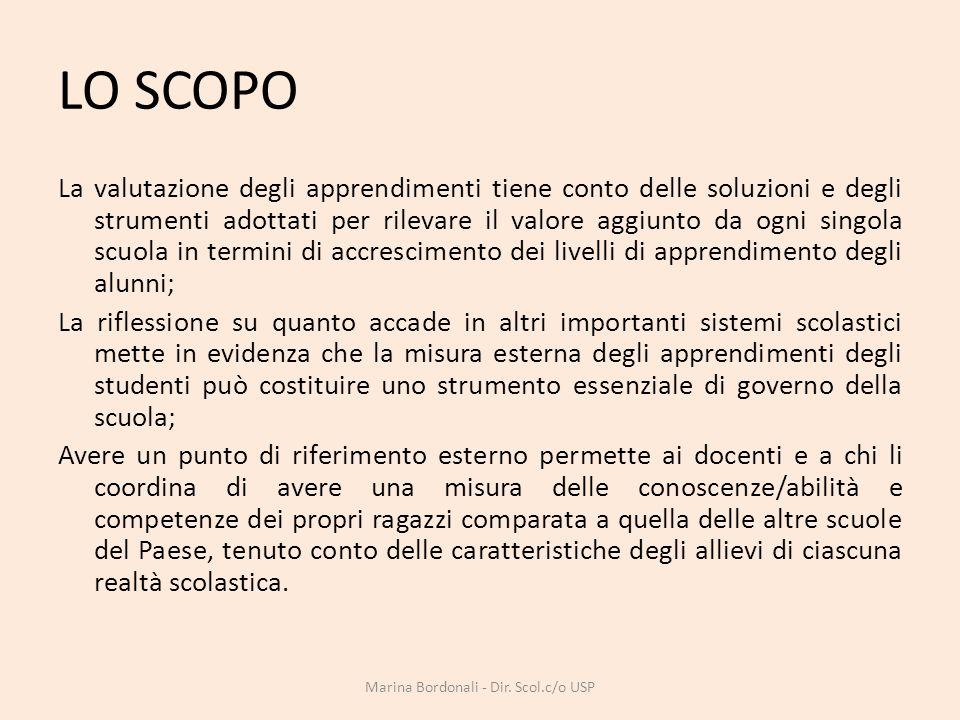 LO SCOPO La valutazione degli apprendimenti tiene conto delle soluzioni e degli strumenti adottati per rilevare il valore aggiunto da ogni singola scu
