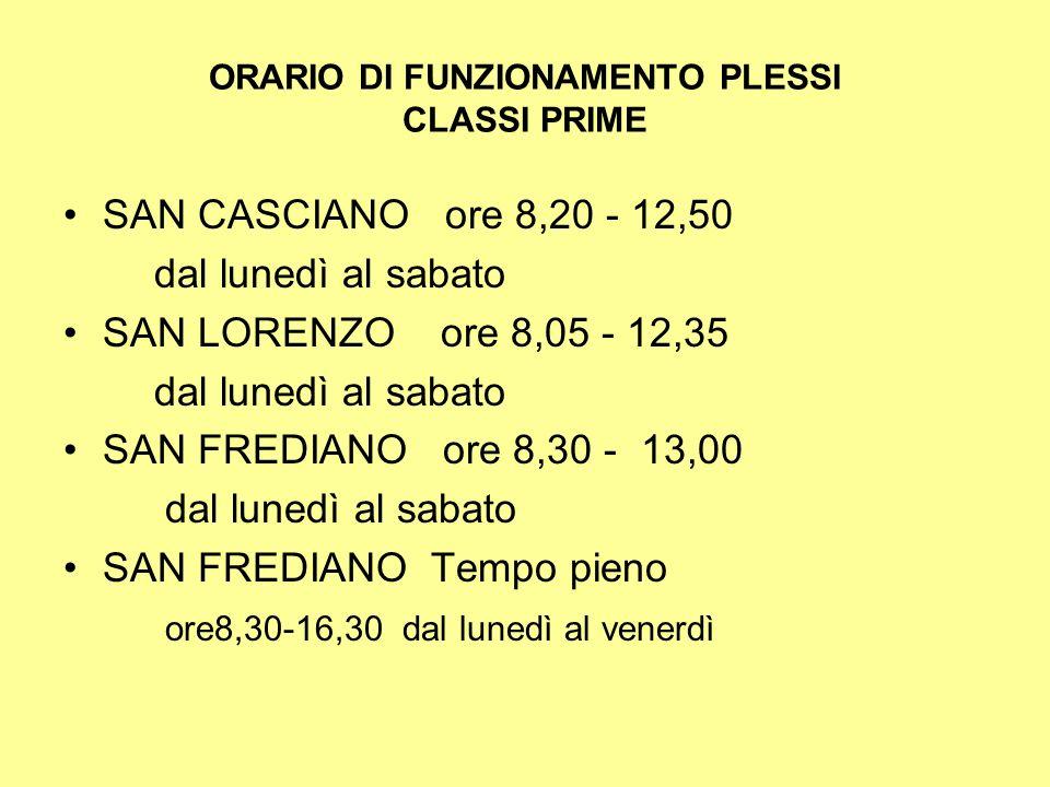 ORARIO DI FUNZIONAMENTO PLESSI CLASSI PRIME SAN CASCIANO ore 8,20 - 12,50 dal lunedì al sabato SAN LORENZO ore 8,05 - 12,35 dal lunedì al sabato SAN F