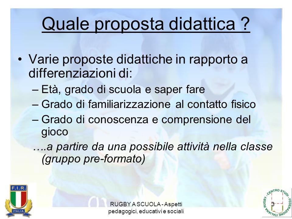 RUGBY A SCUOLA - Aspetti pedagogici, educativi e sociali 3 Quale proposta didattica ? Varie proposte didattiche in rapporto a differenziazioni di: –Et