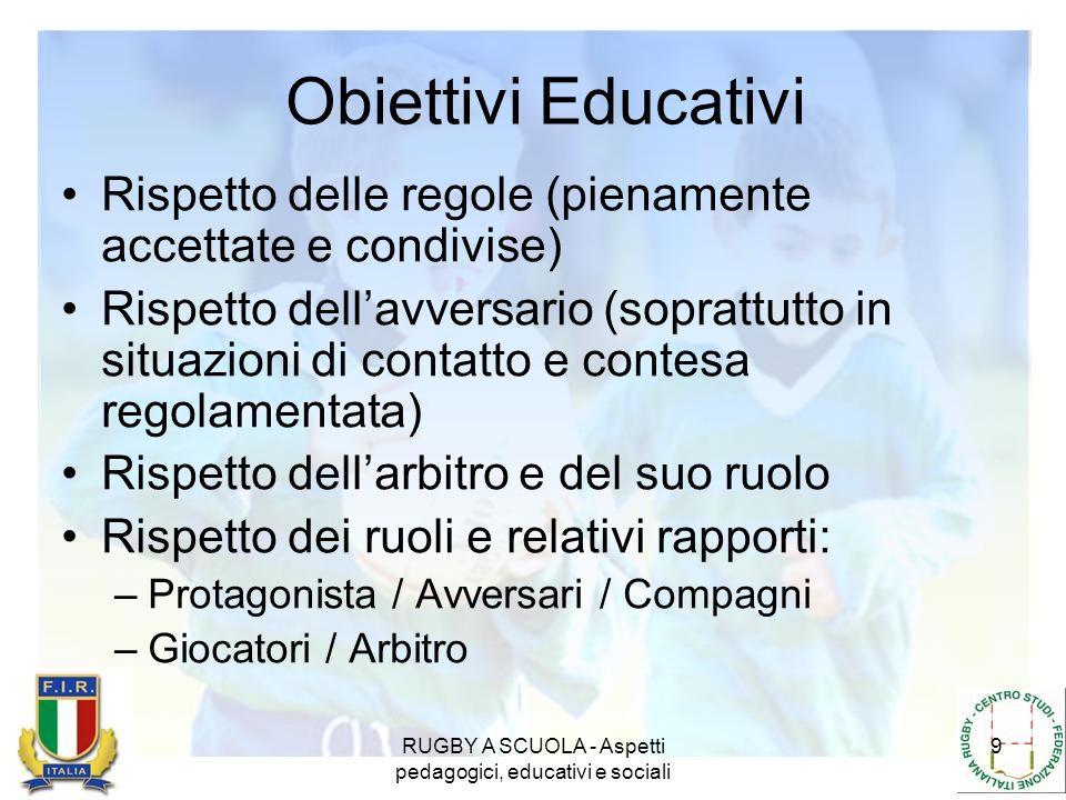 RUGBY A SCUOLA - Aspetti pedagogici, educativi e sociali 9 Obiettivi Educativi Rispetto delle regole (pienamente accettate e condivise) Rispetto della