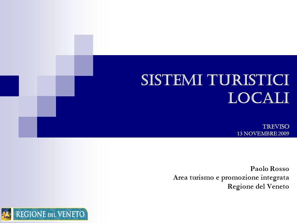 SISTEMI TURISTICI LOCALI TREVISO 13 NOVEMBRE 2009 Paolo Rosso Area turismo e promozione integrata Regione del Veneto