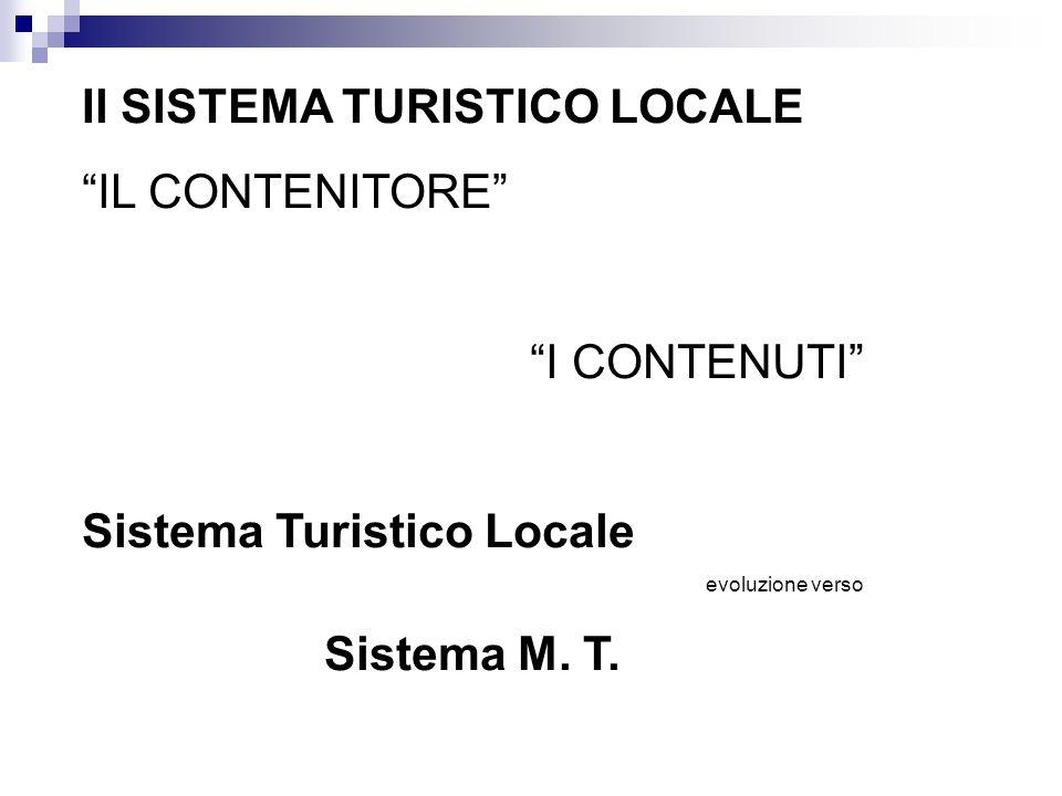 Il SISTEMA TURISTICO LOCALE IL CONTENITORE I CONTENUTI Sistema Turistico Locale evoluzione verso Sistema M. T.