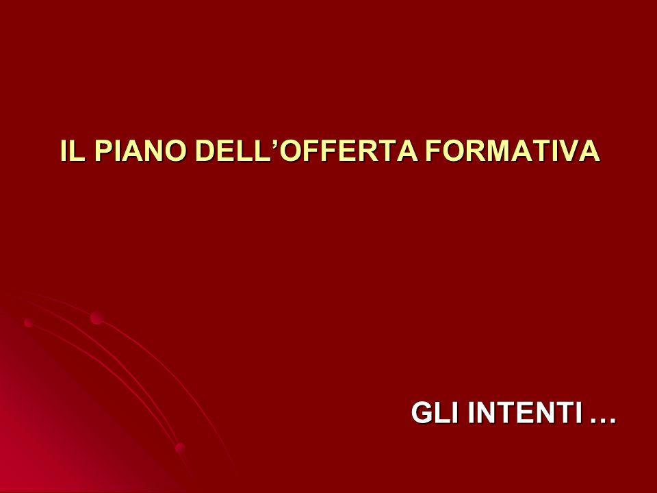 IL PIANO DELLOFFERTA FORMATIVA GLI INTENTI …