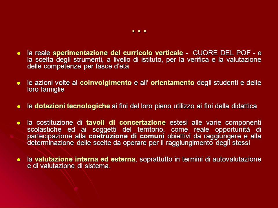 … la reale sperimentazione del curricolo verticale - CUORE DEL POF - e la scelta degli strumenti, a livello di istituto, per la verifica e la valutazi