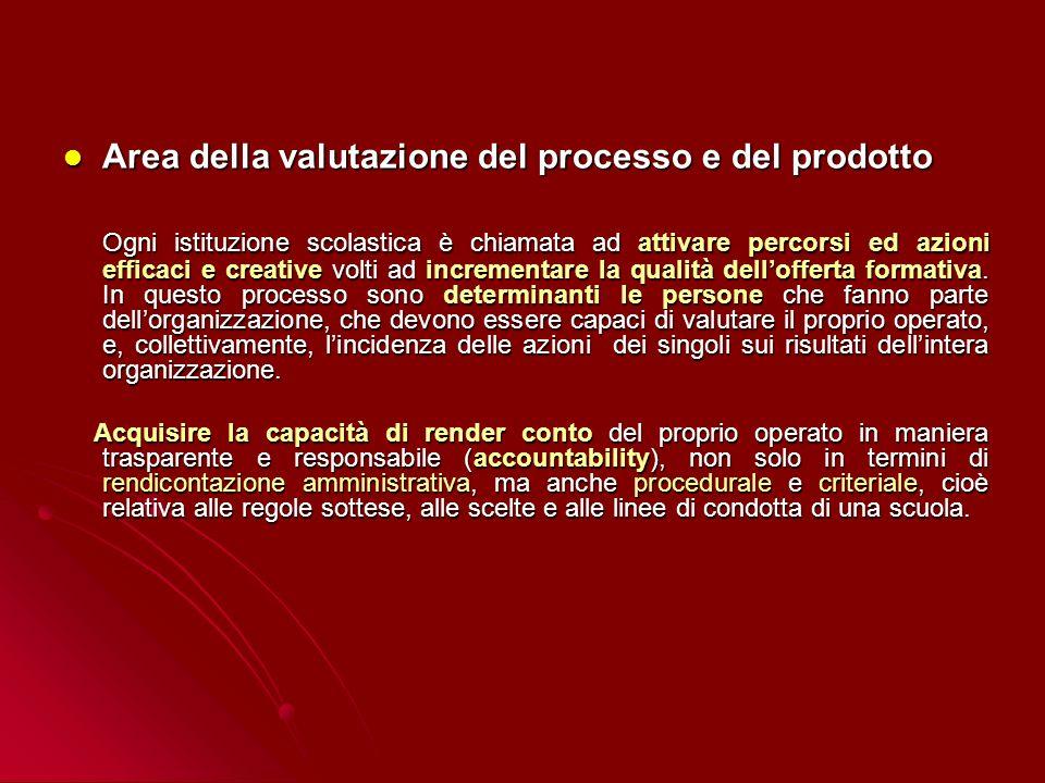 Area della valutazione del processo e del prodotto Area della valutazione del processo e del prodotto Ogni istituzione scolastica è chiamata ad attiva