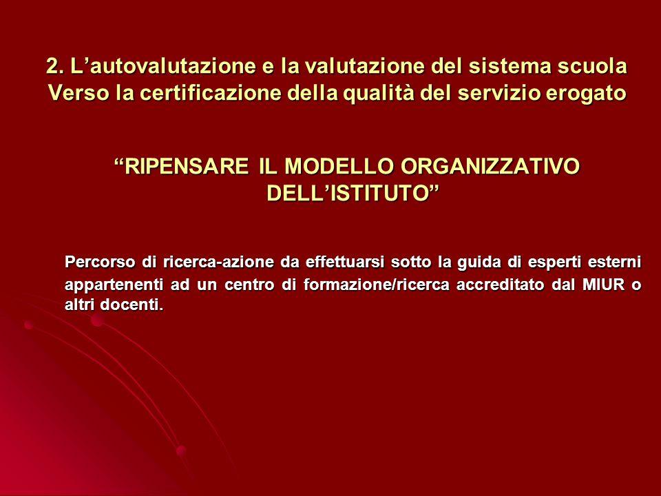 2. Lautovalutazione e la valutazione del sistema scuola Verso la certificazione della qualità del servizio erogato RIPENSARE IL MODELLO ORGANIZZATIVO
