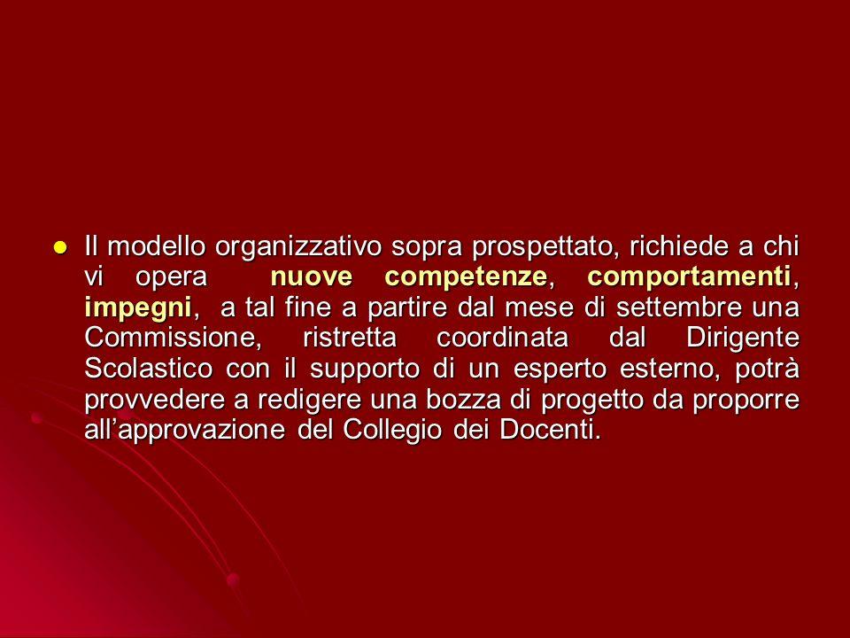 Il modello organizzativo sopra prospettato, richiede a chi vi opera nuove competenze, comportamenti, impegni, a tal fine a partire dal mese di settemb