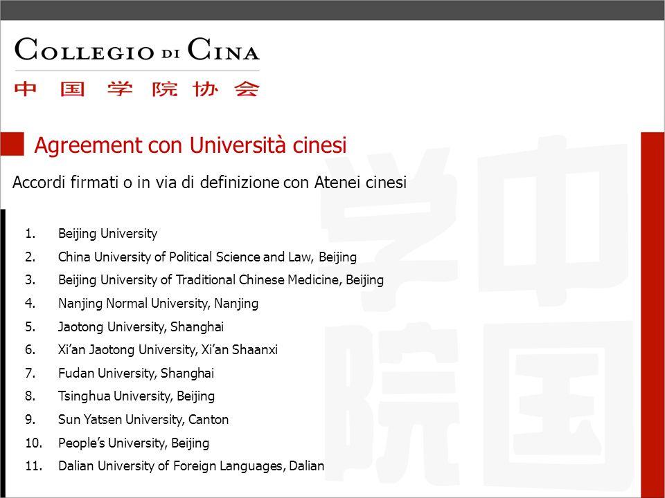 Agreement con Università cinesi Accordi in via di definizione 9.