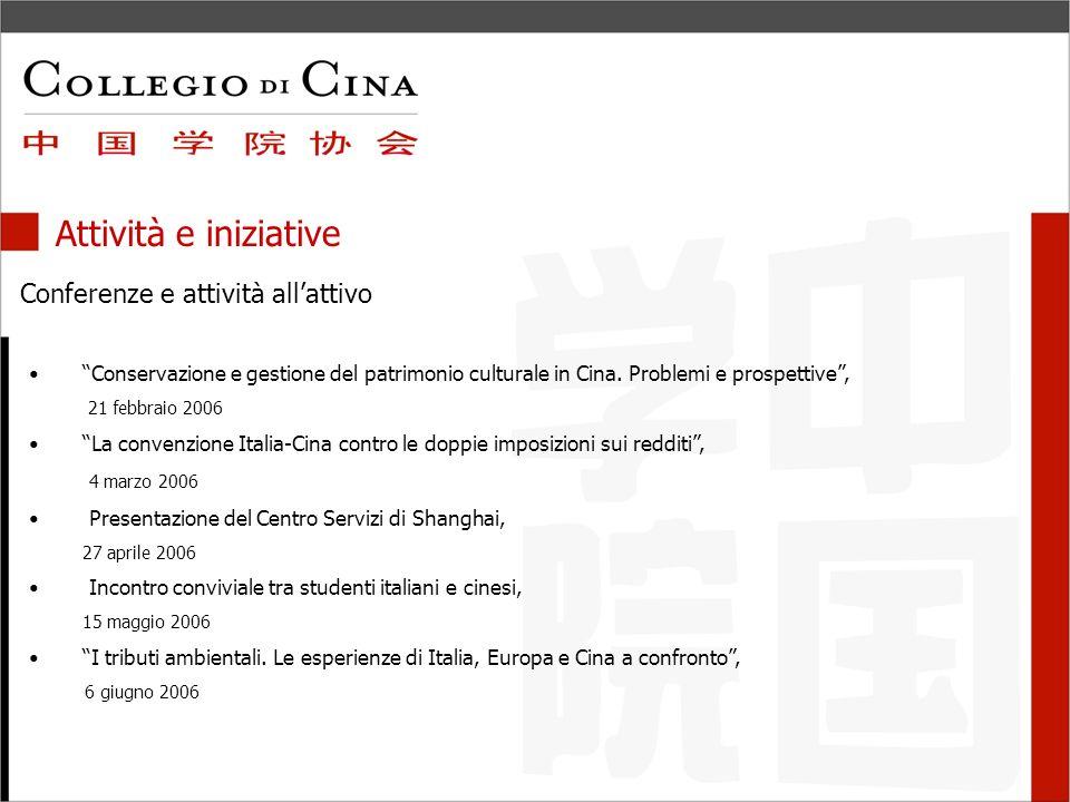 Attività e iniziative Conferenze e attività allattivo Conservazione e gestione del patrimonio culturale in Cina.