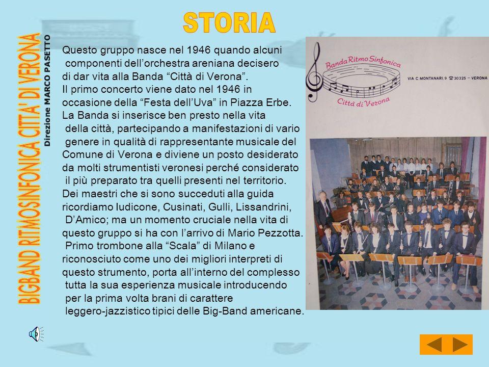 Questo gruppo nasce nel 1946 quando alcuni componenti dellorchestra areniana decisero di dar vita alla Banda Città di Verona. Il primo concerto viene