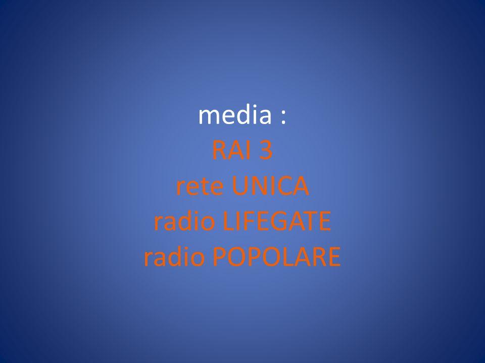 media : RAI 3 rete UNICA radio LIFEGATE radio POPOLARE