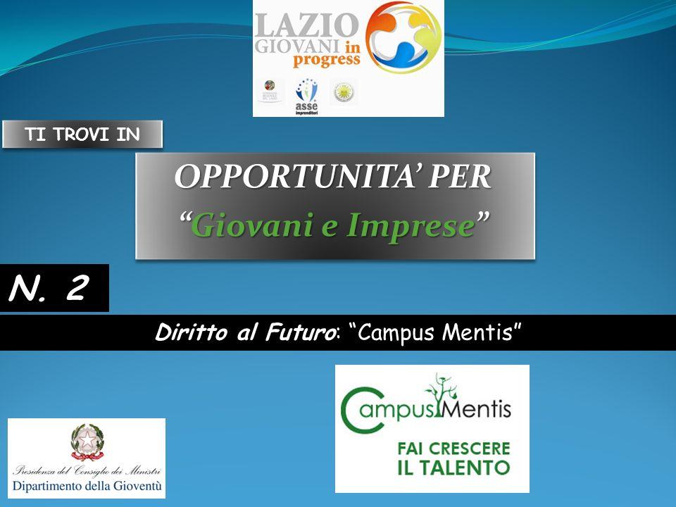 OPPORTUNITA PER Giovani e ImpreseGiovani e Imprese OPPORTUNITA PER Giovani e ImpreseGiovani e Imprese Diritto al Futuro: Campus Mentis N.