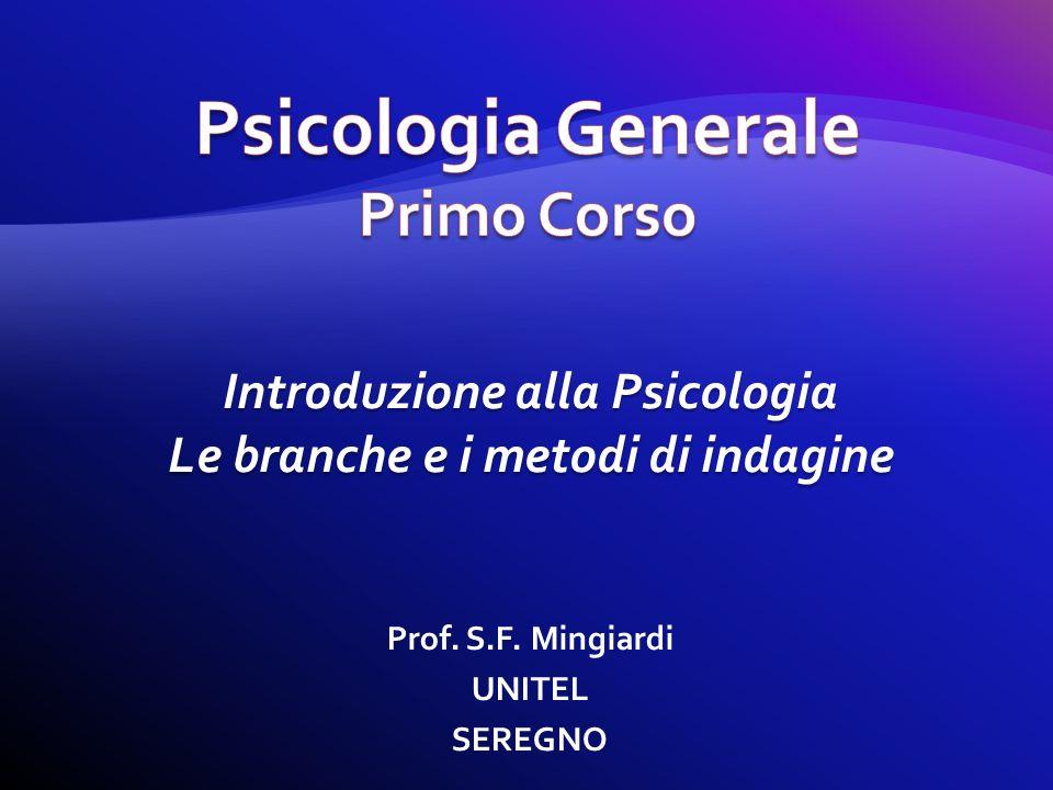 Prof. S.F. Mingiardi UNITEL SEREGNO Introduzione alla Psicologia Le branche e i metodi di indagine