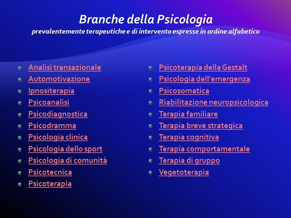 Analisi transazionale Automotivazione Ipnositerapia Psicoanalisi Psicodiagnostica Psicodramma Psicologia clinica Psicologia dello sport Psicologia di