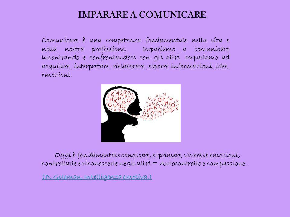IMPARARE A COMUNICARE Comunicare è una competenza fondamentale nella vita e nella nostra professione. Impariamo a comunicare incontrando e confrontand