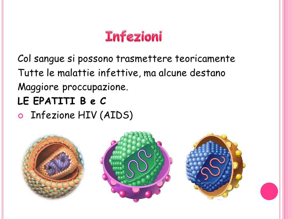 Col sangue si possono trasmettere teoricamente Tutte le malattie infettive, ma alcune destano Maggiore proccupazione.