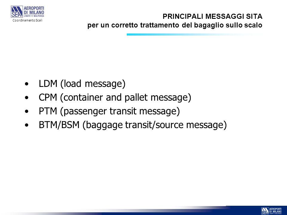PRINCIPALI MESSAGGI SITA per un corretto trattamento del bagaglio sullo scalo LDM (load message) CPM (container and pallet message) PTM (passenger tra