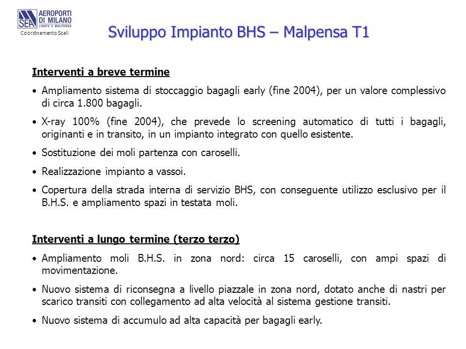 Sviluppo Impianto BHS – Malpensa T1 Interventi a breve termine Ampliamento sistema di stoccaggio bagagli early (fine 2004), per un valore complessivo