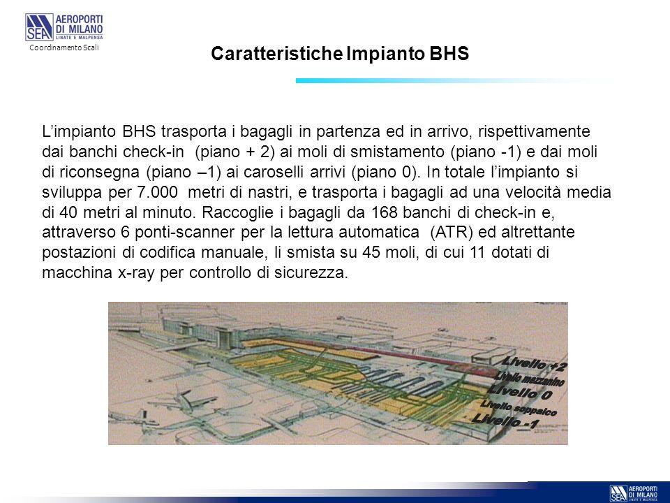 Caratteristiche Impianto BHS Limpianto BHS trasporta i bagagli in partenza ed in arrivo, rispettivamente dai banchi check-in (piano + 2) ai moli di sm