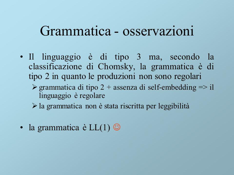 Grammatica - osservazioni Il linguaggio è di tipo 3 ma, secondo la classificazione di Chomsky, la grammatica è di tipo 2 in quanto le produzioni non sono regolari grammatica di tipo 2 + assenza di self-embedding => il linguaggio è regolare la grammatica non è stata riscritta per leggibilità la grammatica è LL(1)