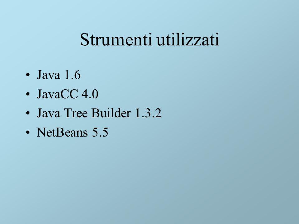 Strumenti utilizzati Java 1.6 JavaCC 4.0 Java Tree Builder 1.3.2 NetBeans 5.5