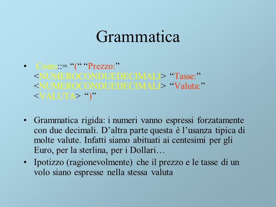 Grammatica Costo::= ( Prezzo: Tasse: Valuta: ) Grammatica rigida: i numeri vanno espressi forzatamente con due decimali.