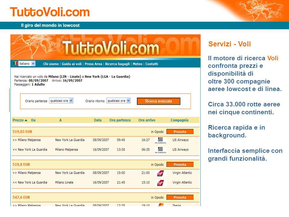 Il giro del mondo in lowcost Il motore di ricerca Voli confronta prezzi e disponibilità di oltre 300 compagnie aeree lowcost e di linea. Circa 33.000
