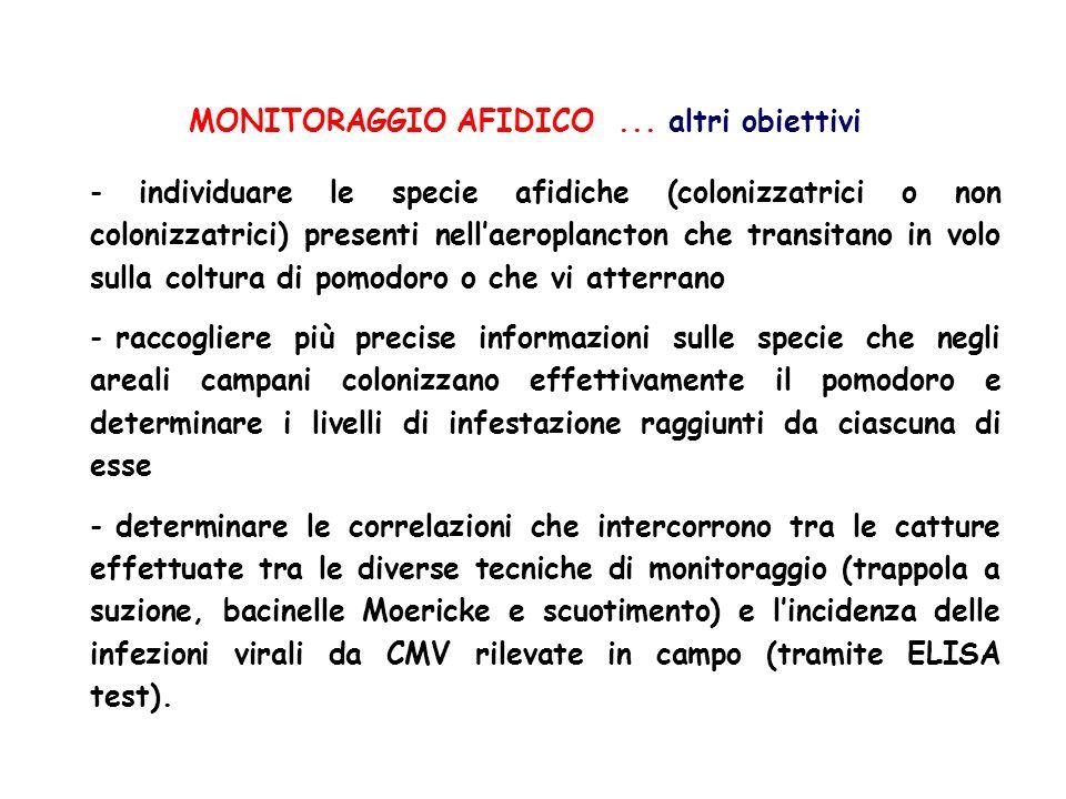 MONITORAGGIO AFIDICO... altri obiettivi - individuare le specie afidiche (colonizzatrici o non colonizzatrici) presenti nellaeroplancton che transitan