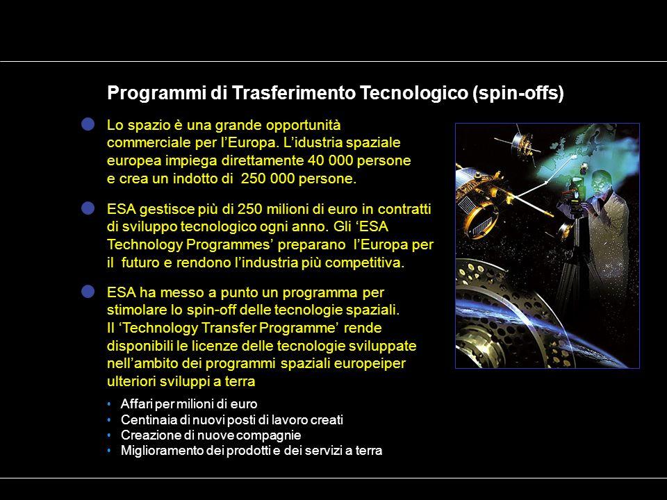 Programmi di Trasferimento Tecnologico (spin-offs) Lo spazio è una grande opportunità commerciale per lEuropa. Lidustria spaziale europea impiega dire